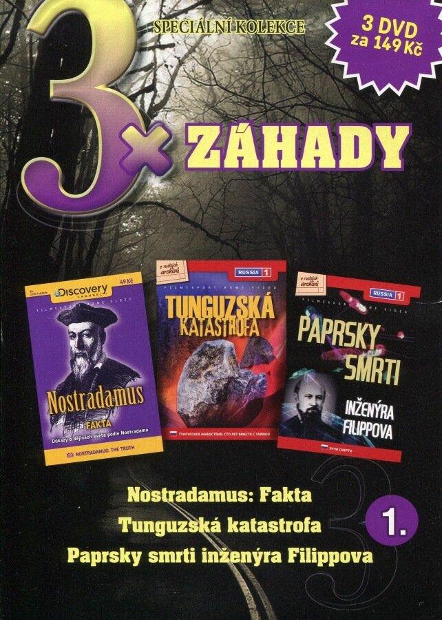 3xZáhady 1 (Nostradamus,Tunguzská katastrofa,Paprsky smrti inženýra Filippova) kolekce 3DVD