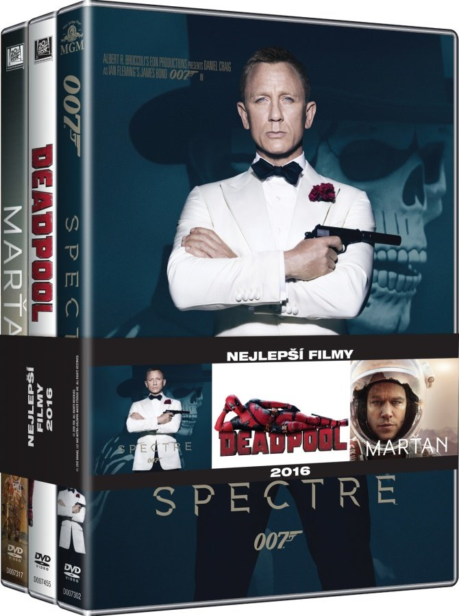 3x Nejlepší filmy pro muže (Spectre, Marťan, Deadpool) - kolekce (3xDVD)