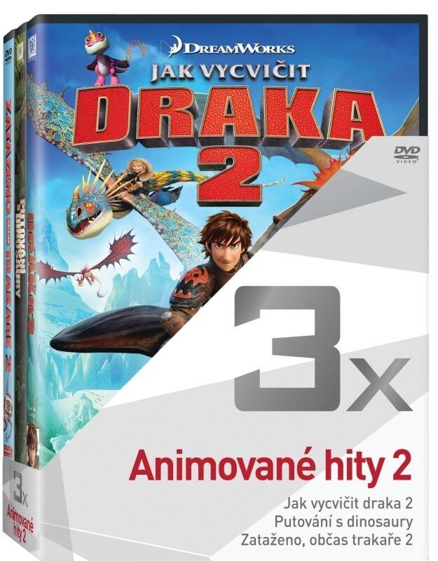 3x Animované hity 2 - kolekce (Jak vycvičit draka 2, Putování s dinosaury, Zataženo, občas trakaře)
