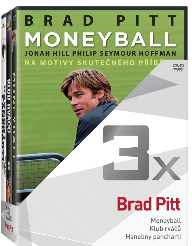 3x Brad Pitt - kolekce (Moneyball, Klub rváčů, Hanebný pancharti) (3xDVD)