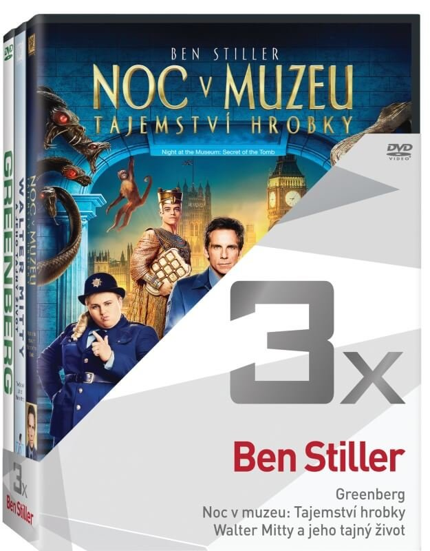 3x Ben Stiller - kolekce (Greenberg, Noc v muzeu 3, Walter Mitty) (3xDVD)