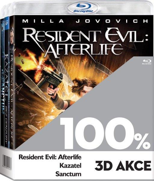 100% 3D Akce (Resident Evil: Afterlife, Kazatel, Sanctum) - 3xBLU-RAY