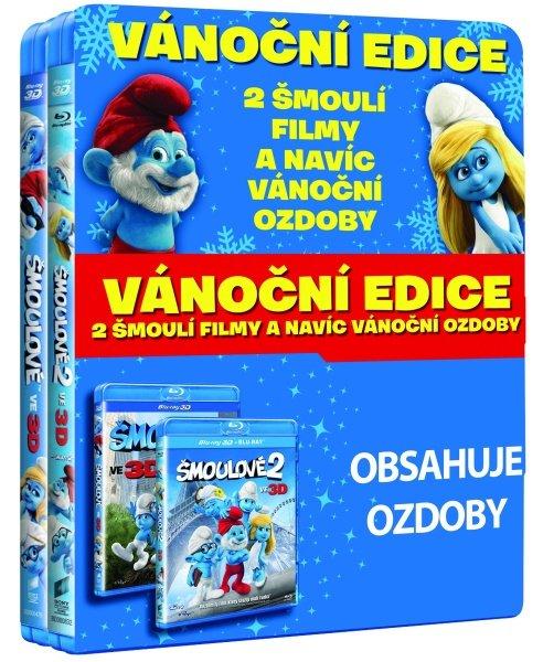 Šmoulové 1+2 - FILM (2D+3D) (2xBLU-RAY) - balení obsahuje vánoční ozdoby