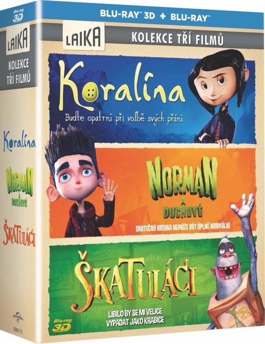 Kolekce 3 filmů společnosti Laika: Koralína+Norman a duchové+Škatuláci - kolekce - (2D+3D) (3xBLU-RA