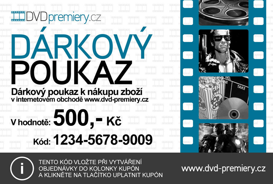Dárkový poukaz DVDpremiery.cz na nákup zboží v hodnotě 500 kč