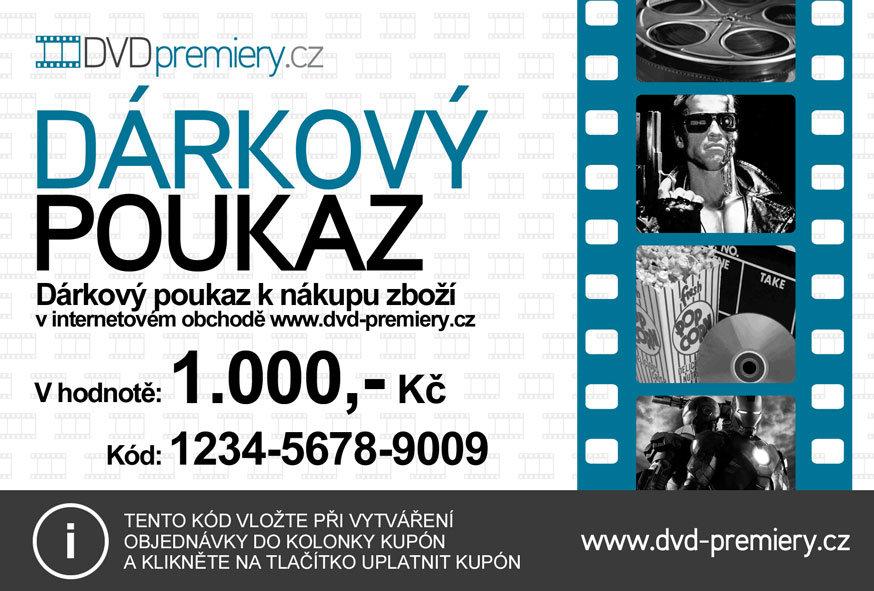 Dárkový poukaz DVDpremiery.cz na nákup zboží v hodnotě 1000 kč